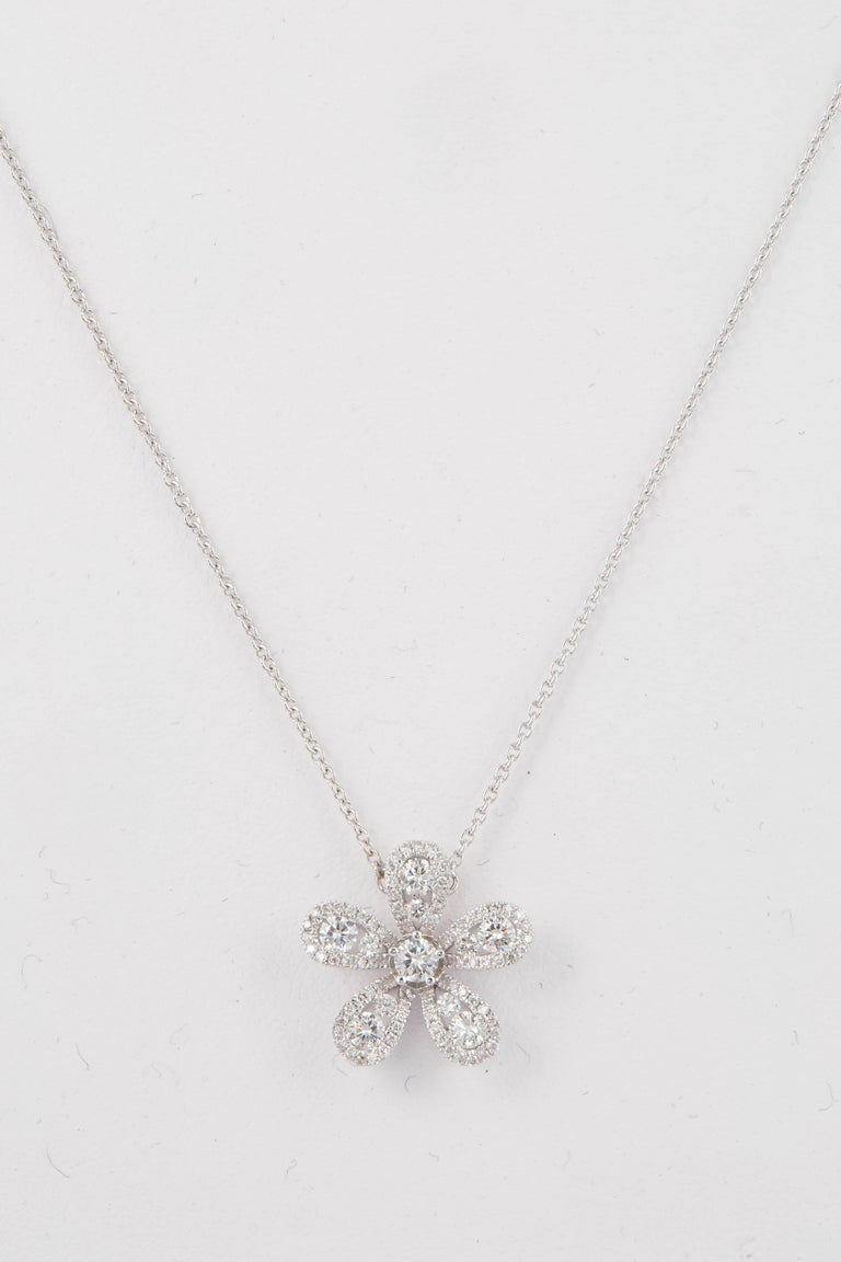 Contemporary Diamond Flower Pendant 0.52 Carats 18K For Sale