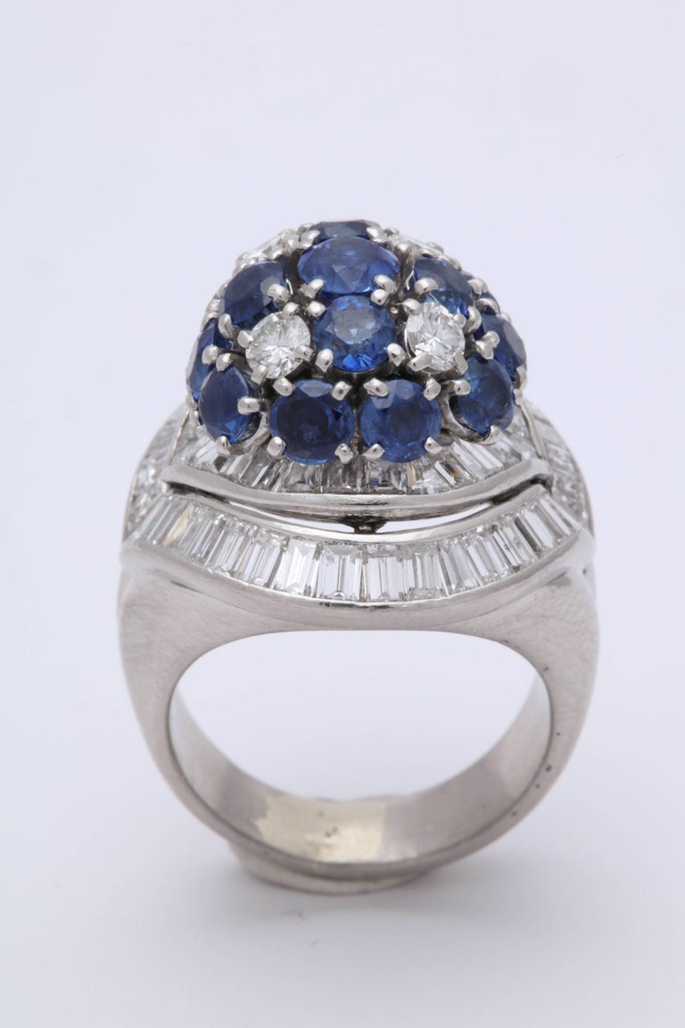 1950s Elegant Ballerina Style Sapphire With Baguette