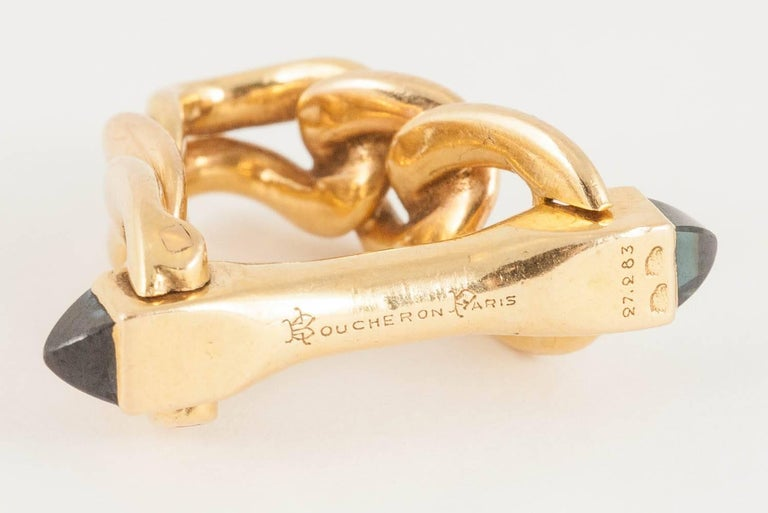 1950s Boucheron Paris Sapphire 18 Carat Gold Cufflinks In New Condition For Sale In London, GB