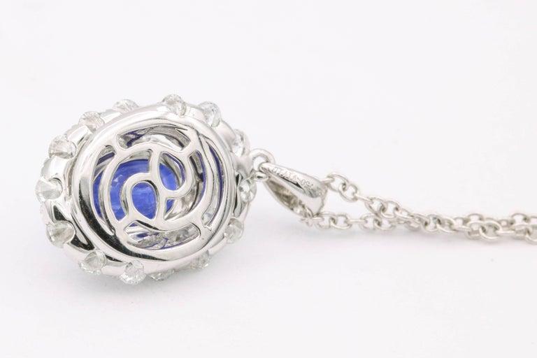 Contemporary Classic Oval Sapphire Diamond Pendant For Sale