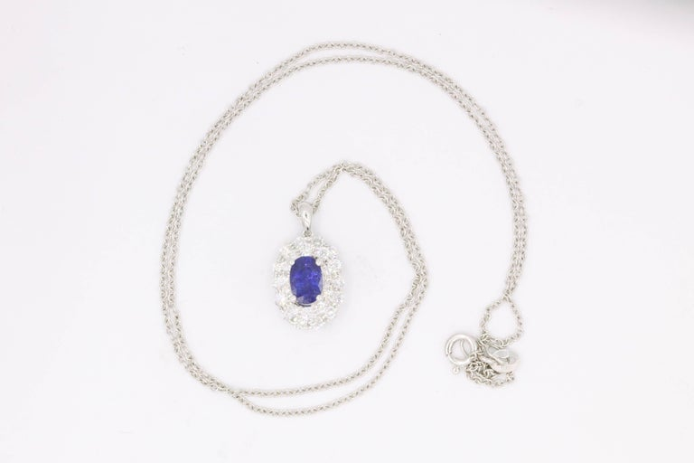 Oval Cut Classic Oval Sapphire Diamond Pendant For Sale