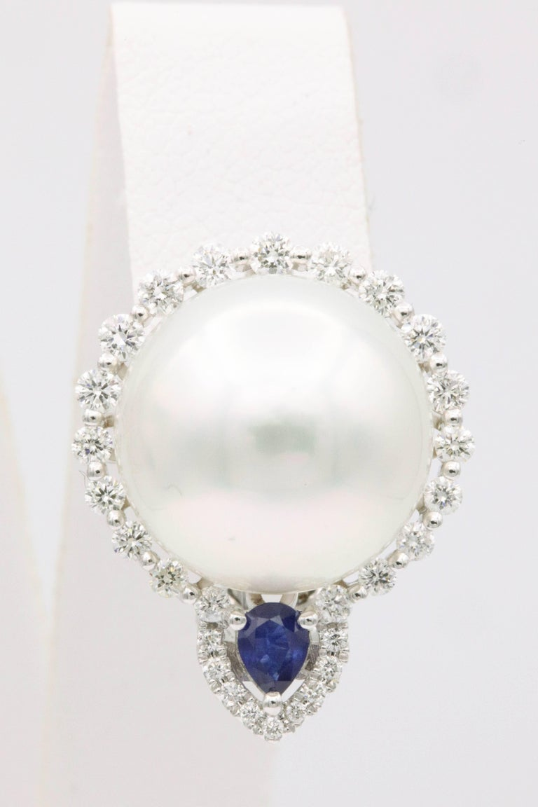 Contemporary South Sea Pearl and Diamond with Sapphire Accent Studs Earrings For Sale