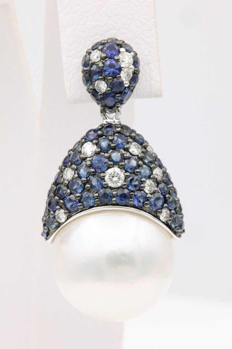 Contemporary Sapphire and Diamonds with South Sea Pearl Earrings For Sale