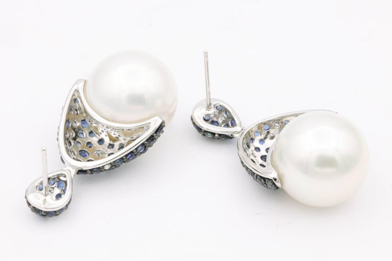 Sapphire and Diamonds with South Sea Pearl Earrings In New Condition For Sale In New York, NY