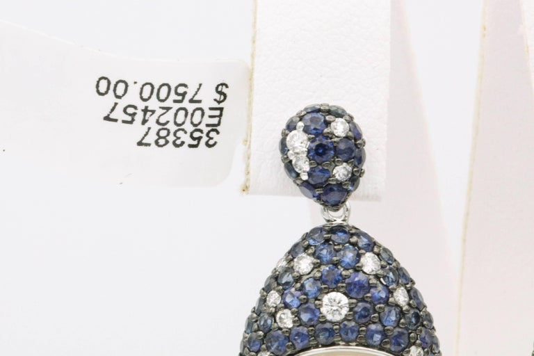 Women's Sapphire and Diamonds with South Sea Pearl Earrings For Sale