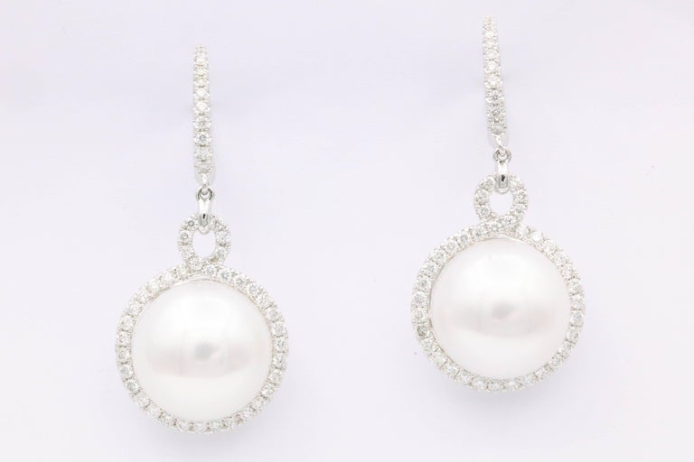 18K White Gold South Sea Pearl 13-14 mm Diamonds 0.90 Cts. Earrings 3.5 cm long