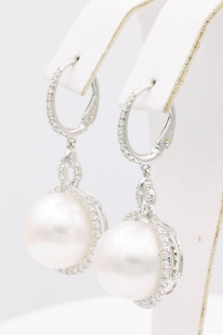 Contemporary South Sea Pearl and Diamond Dangle Earrings For Sale