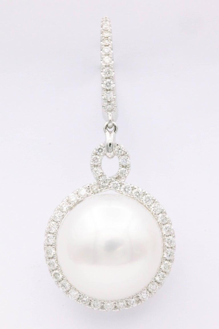 South Sea Pearl and Diamond Dangle Earrings For Sale 1