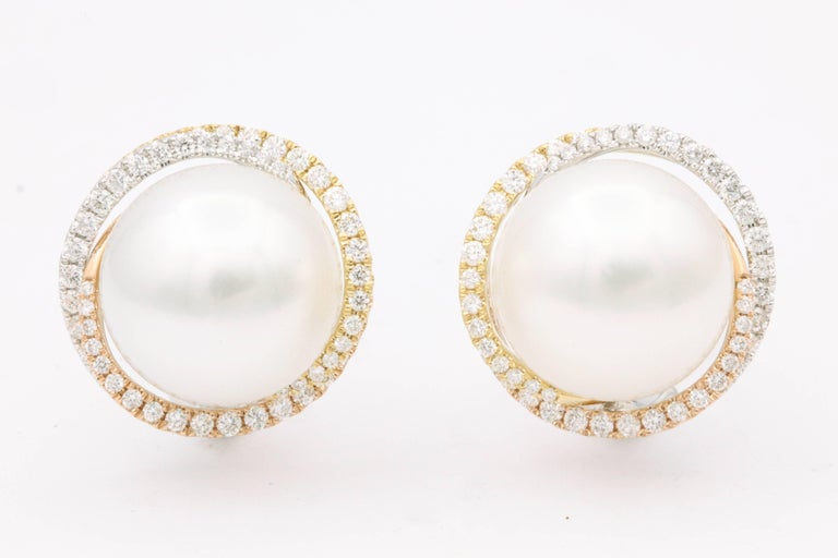 18K WYR Gold South sea Pearl 13-14mm Diamonds 1.00 cts.