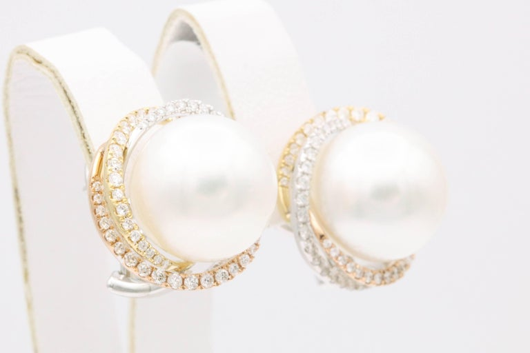 Contemporary South Sea Pearl Studs and Halo Diamonds in Yellow White Rose Gold Earrings For Sale