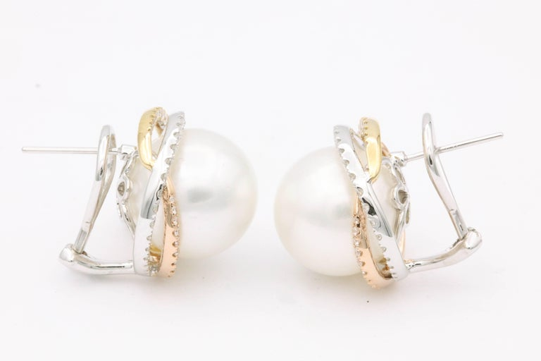 Round Cut South Sea Pearl Studs and Halo Diamonds in Yellow White Rose Gold Earrings For Sale