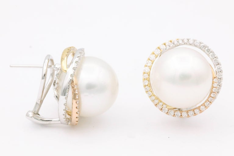 South Sea Pearl Studs and Halo Diamonds in Yellow White Rose Gold Earrings In New Condition For Sale In New York, NY