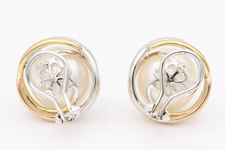 Women's South Sea Pearl Studs and Halo Diamonds in Yellow White Rose Gold Earrings For Sale