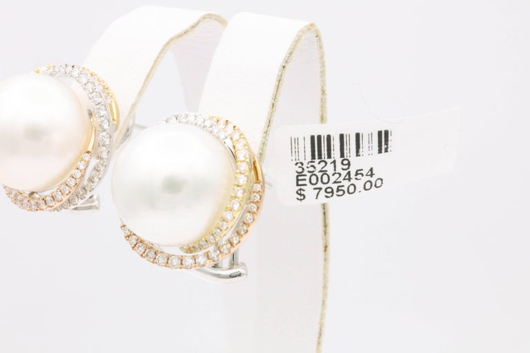 South Sea Pearl Studs and Halo Diamonds in Yellow White Rose Gold Earrings For Sale 1