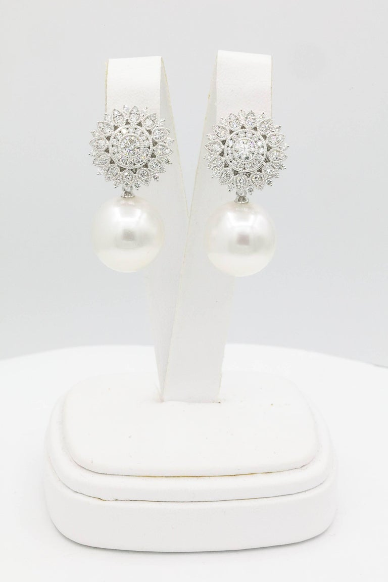 Contemporary Sunflower Diamond Setting with South Sea Pearl Dangle Arrings For Sale