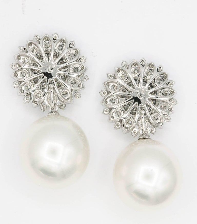 Women's Sunflower Diamond Setting with South Sea Pearl Dangle Arrings For Sale