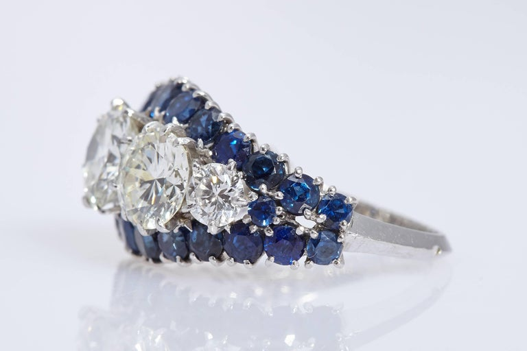 Retro Vintage Van Cleef & Arpels Diamond Sapphire Cocktail Ring For Sale
