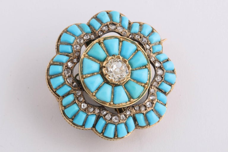 Old Mine Cut Victorian Turquoise and Diamond Brooch For Sale