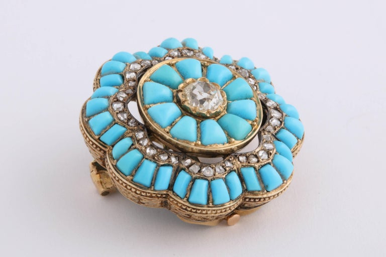 Victorian Turquoise and Diamond Brooch In Excellent Condition For Sale In Brooklyn, NY