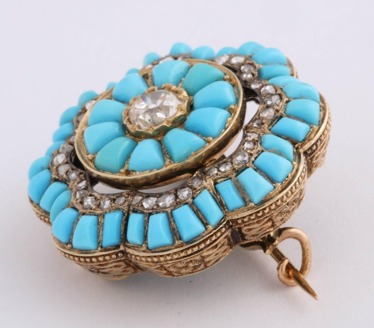Women's or Men's Victorian Turquoise and Diamond Brooch For Sale