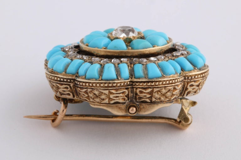 Victorian Turquoise and Diamond Brooch For Sale 1