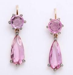 Edwardian Pink Topaz and Diamond Earrings