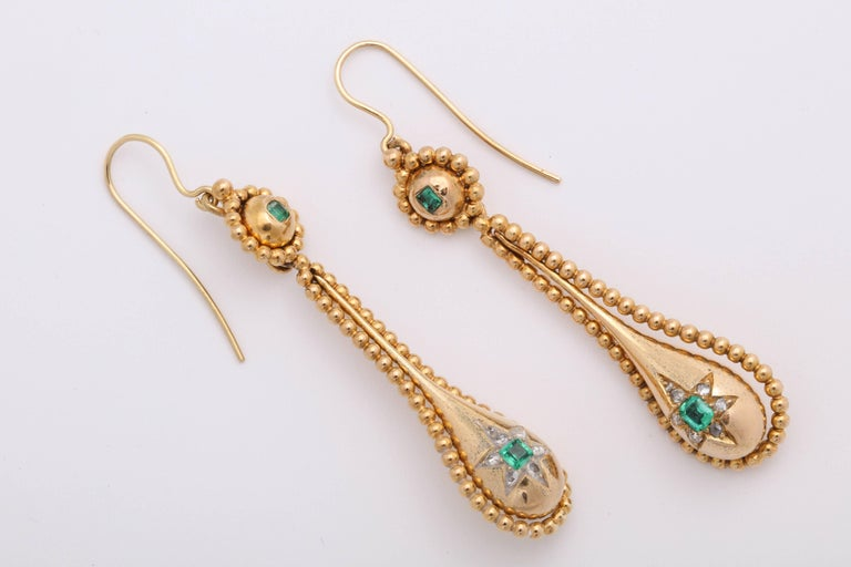 Women's Victorian Emerald and Diamond Earrings For Sale