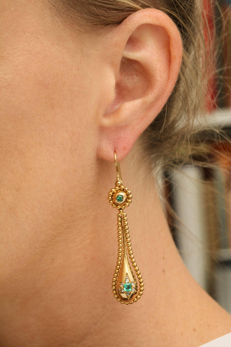 Victorian Emerald and Diamond Earrings For Sale 3