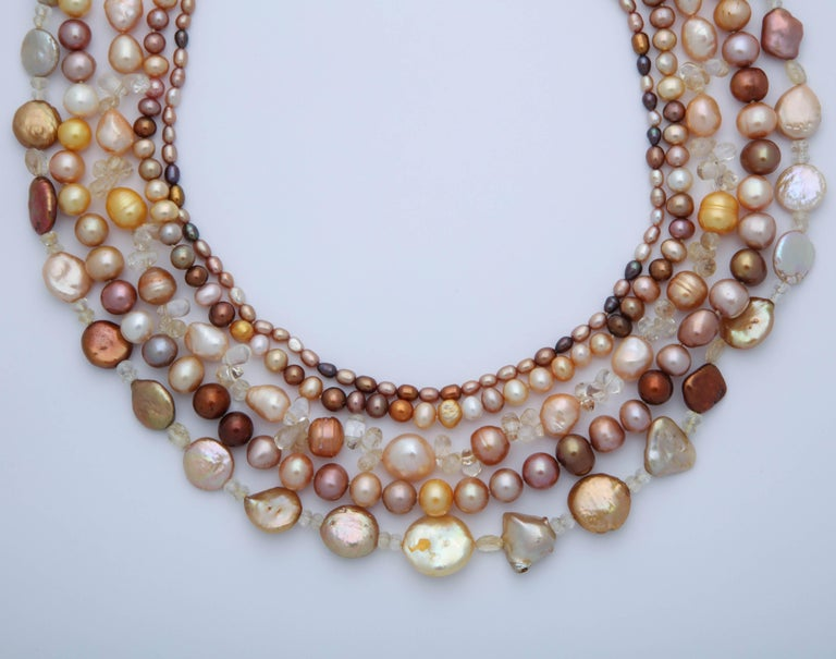 Contemporary Multi Strand Fresh Water Pearl Necklace For Sale