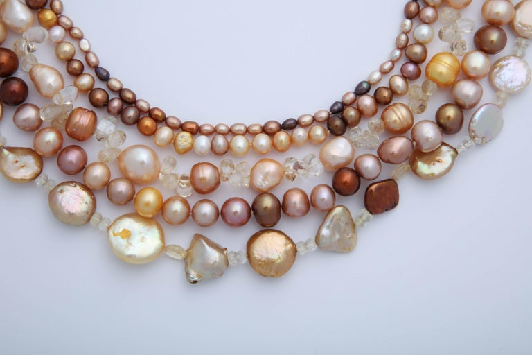 Women's or Men's Multi Strand Fresh Water Pearl Necklace For Sale