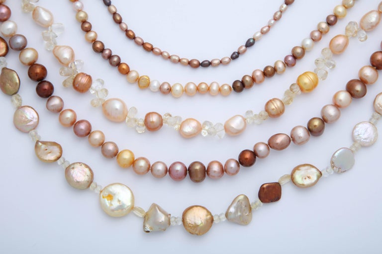Multi Strand Fresh Water Pearl Necklace For Sale 1