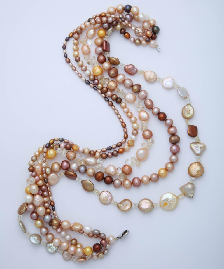 Multi Strand Fresh Water Pearl Necklace For Sale 2