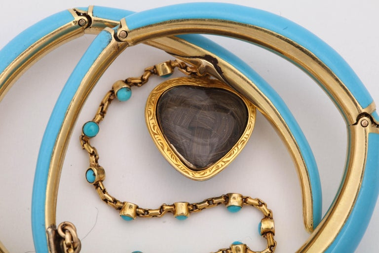 Women's 1890s Turquoise Enamel with Pearl and Turquoise Gold Wrap Around Bangle Bracelet For Sale