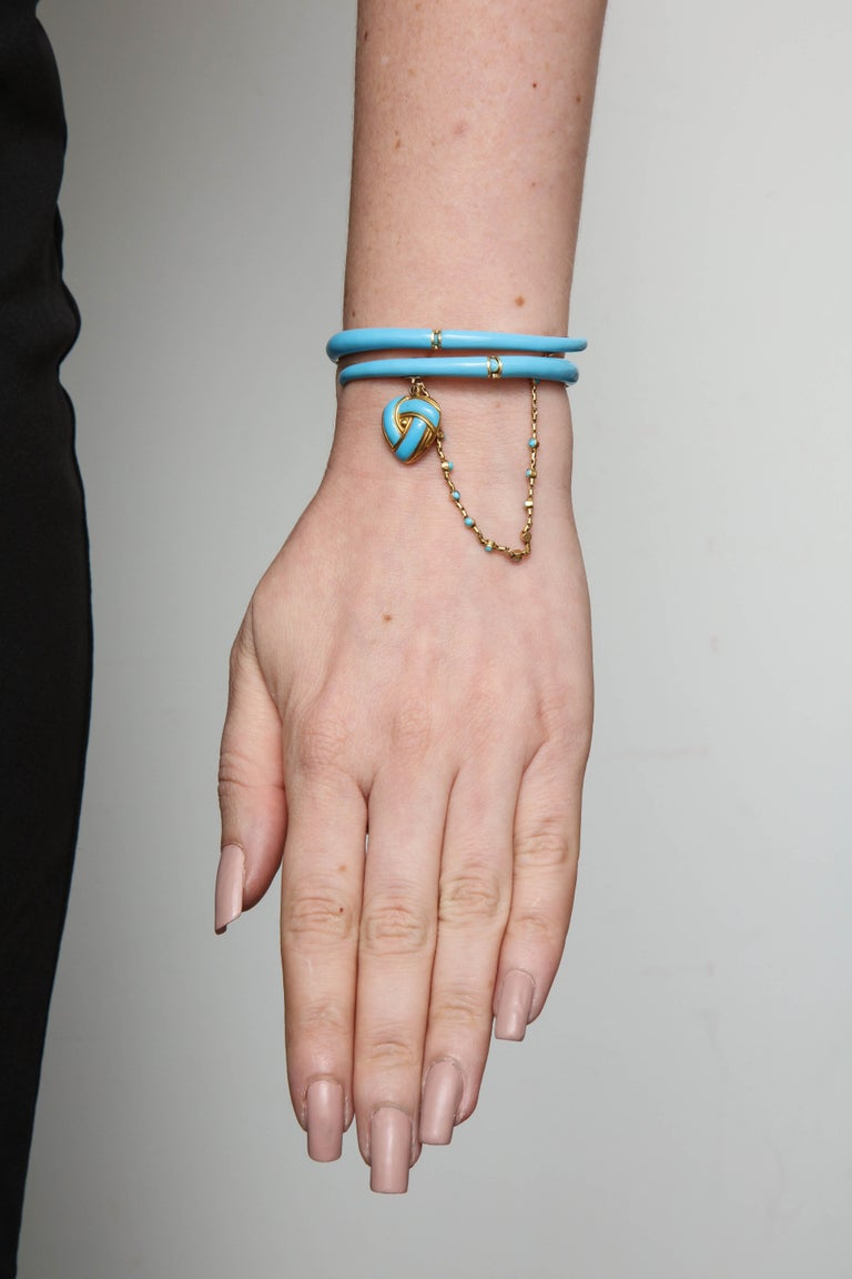 1890s Turquoise Enamel with Pearl and Turquoise Gold Wrap Around Bangle Bracelet For Sale 1