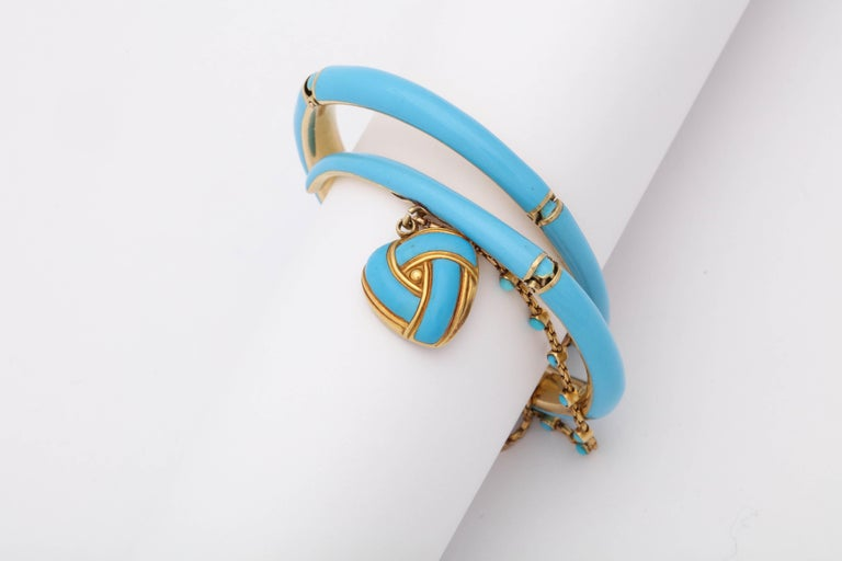 1890s Turquoise Enamel with Pearl and Turquoise Gold Wrap Around Bangle Bracelet For Sale 2