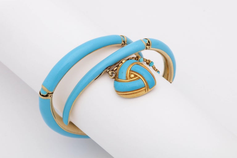 1890s Turquoise Enamel with Pearl and Turquoise Gold Wrap Around Bangle Bracelet For Sale 3