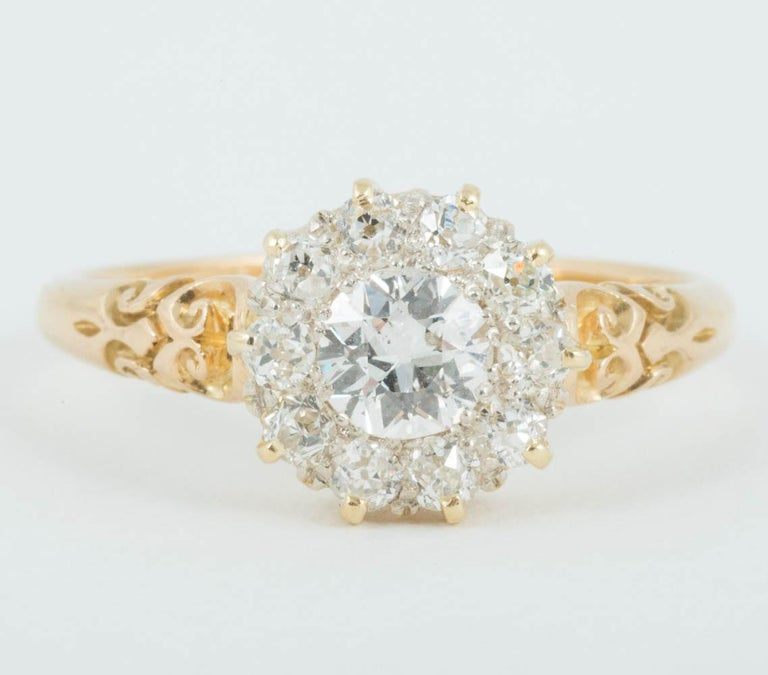 Victorian Diamond cluster engagement ring set in 18 ct Gold Finger size S