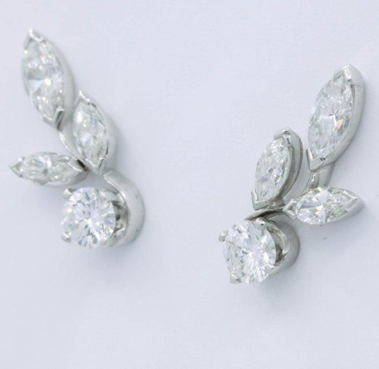 Contemporary Diamond Earring Climbers, 1.70 Carat For Sale