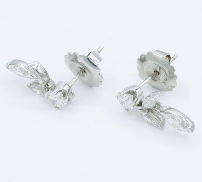 Round Cut Diamond Earring Climbers, 1.70 Carat For Sale