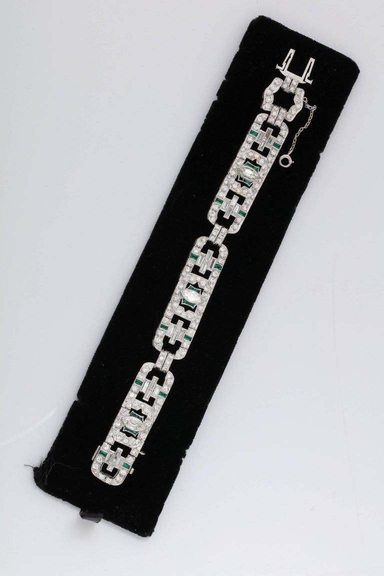 One Ladies Important Platinum Set Art Deco Bracelet Embellished With [24] Baguette Diamonds Weighing Approximately 3 Carats Total Weight. This Flexible Open Link Bracelet Is Further Embellished With Numerous Old European And Old Mine Cut Diamonds