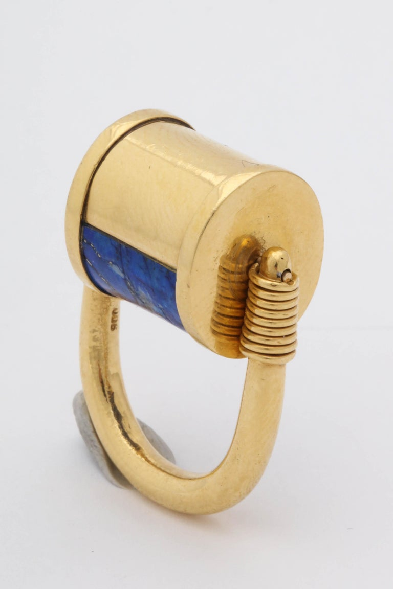1980s Cellini Padlock Design Reversible Lapis Lazuli and Gold Rolltop Ring For Sale 9