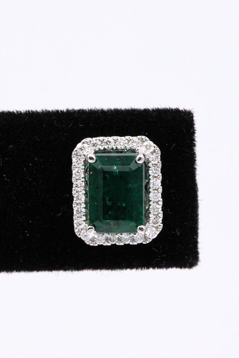 Women's Emerald Diamond Halo Stud Earrings 2.52 Carat 14 Karat White Gold For Sale