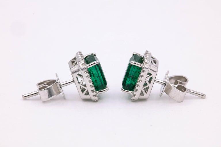 Emerald Diamond Halo Stud Earrings 2.52 Carat 14 Karat White Gold For Sale 2