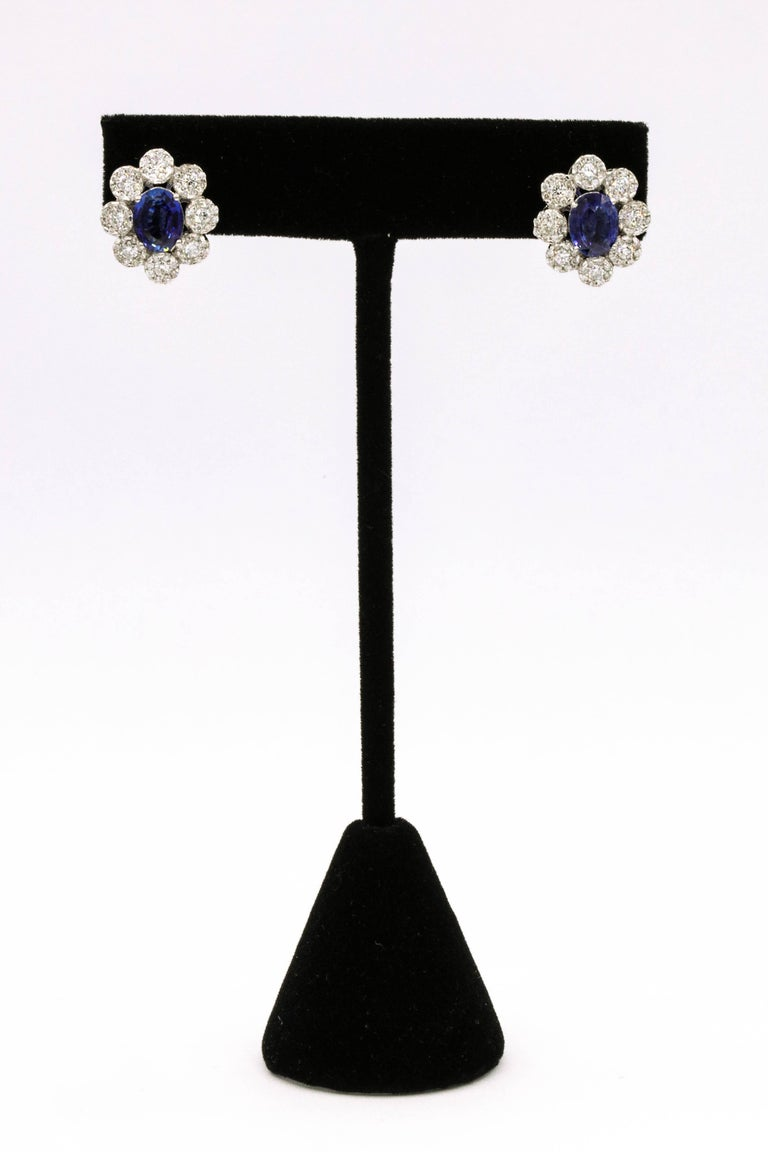 Oval Cut Sapphire Diamond Floral Earrings 4.26 Carat For Sale