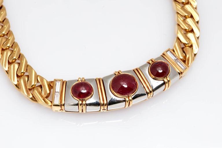 Women's or Men's Bulgari Ruby Diamond Gold Chain Necklace For Sale