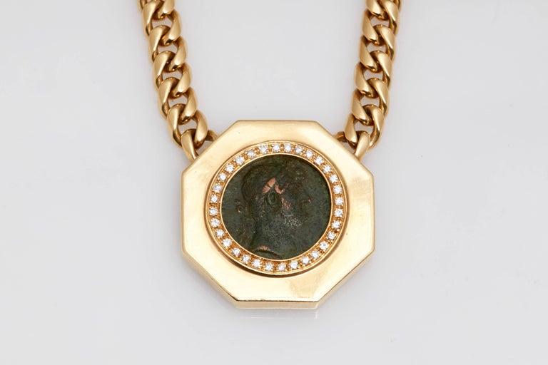 Round Cut Bulgari Monete Gold Ancient Coin Chain Necklace For Sale