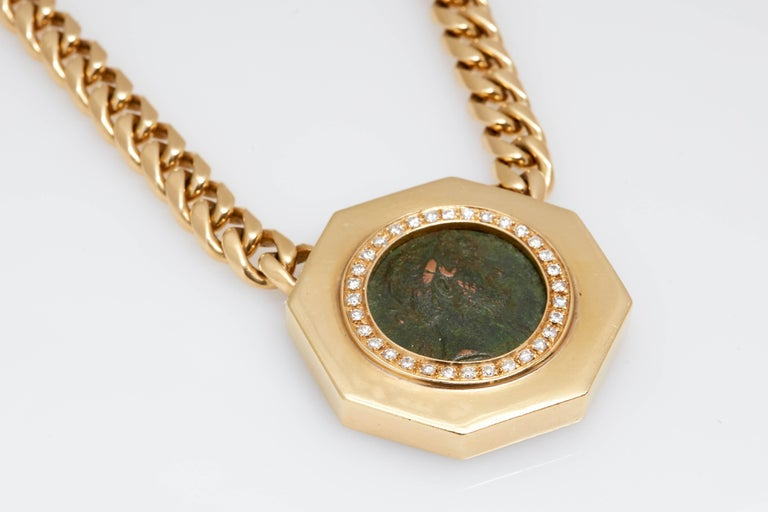 Bulgari Monete Gold Ancient Coin Chain Necklace In Good Condition For Sale In New York, NY
