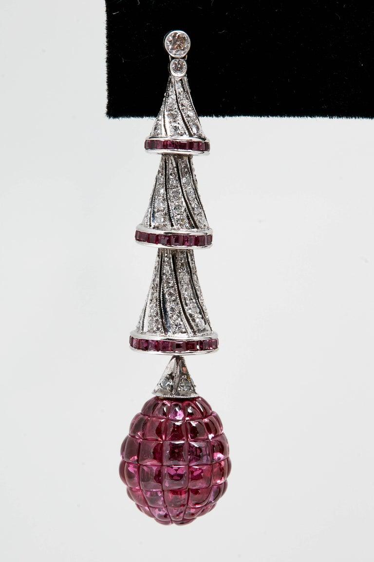 Women's or Men's Invisible Set Rubies Diamonds Ear-Pendants For Sale