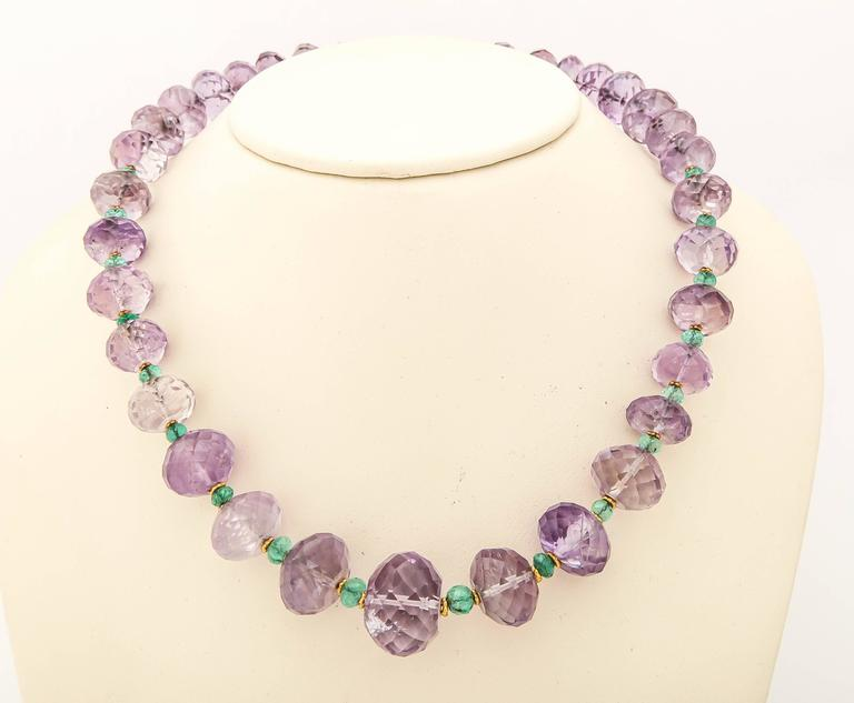 amethyst emerald gold bead necklace for sale at 1stdibs