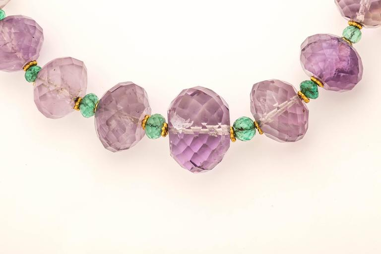 Amethyst Emerald Gold Bead Necklace In As New Condition For Sale In TRYON, NC